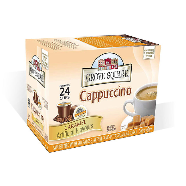 Grove Square Caramel Cappuccino Single Serve Coffee Pods (Case of 96)