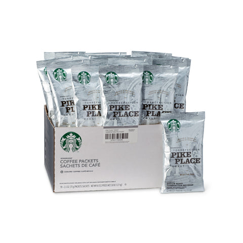 Starbucks Pike Place Roast Ground Coffee Packets (Box of 18 X 2.5oz)