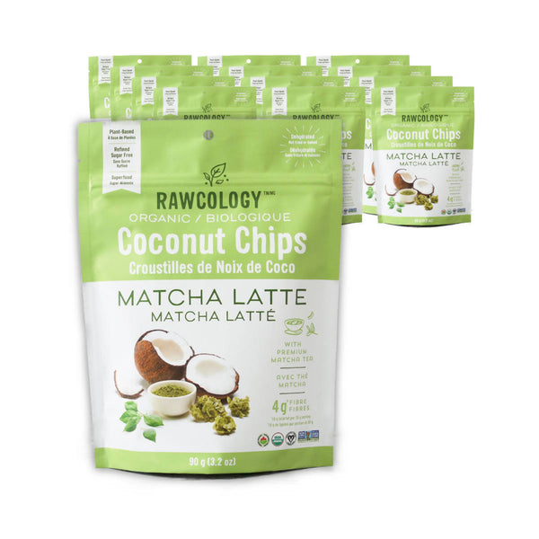 Rawcology Matcha Latte Coconut Chips 200g / 7oz (Case of 12 Bags)