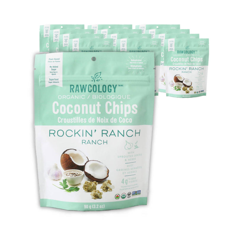 Rawcology Rockin' Ranch Coconut Chips 200g / 7oz (Case of 12 Bags)