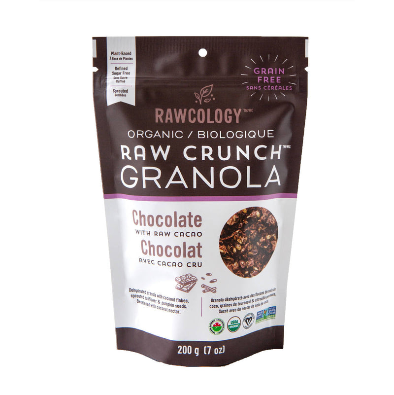 Rawcology Chocolate & Raw Cacao Crunch Granola 200g / 7oz (Case of 12 Bags)