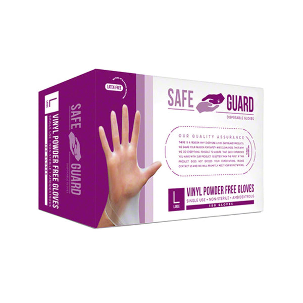Safeguard Vinyl Disposable Gloves (Box of 100) - Large