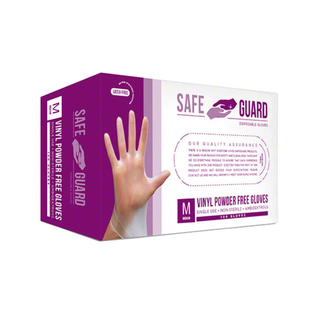 Safeguard Vinyl Disposable Gloves (Box of 100) - Medium