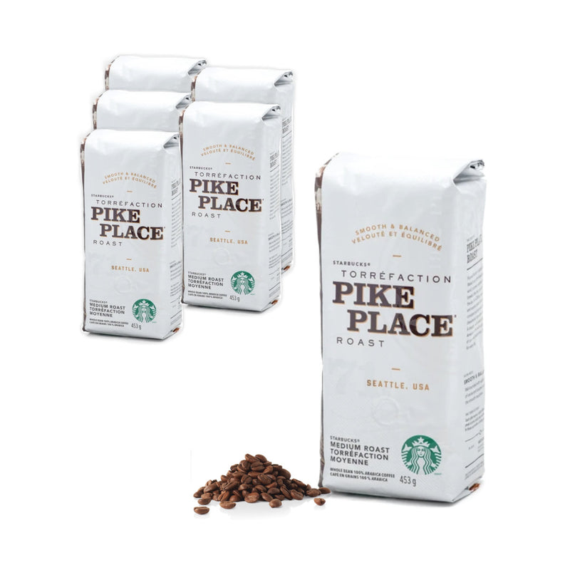 Starbucks Pike Place Roast Coffee Beans (Case of 6x 1lb)
