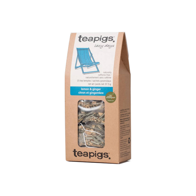 TeaPigs Lemon & Ginger Loose Leaf Tea Sachets (Box of 50)