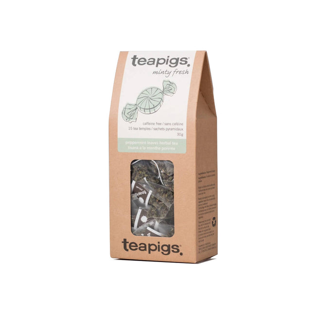 TeaPigs Peppermint Leaves Loose Leaf Tea Sachets (Box of 50)