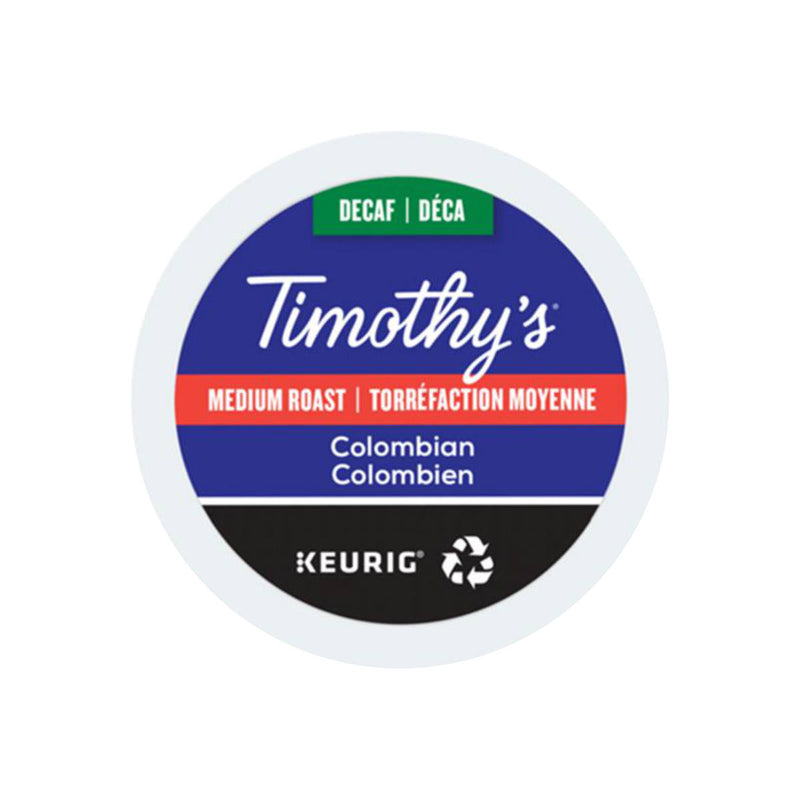 Timothy's Decaffeinated Colombian K-Cup® Recyclable Pods (Case of 96)