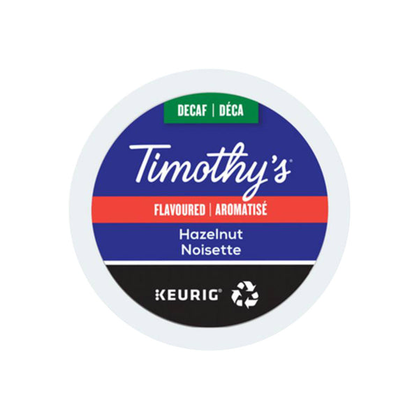 Timothy's Decaffeinated Hazelnut K-Cup® Recyclable Pods (Case of 96)