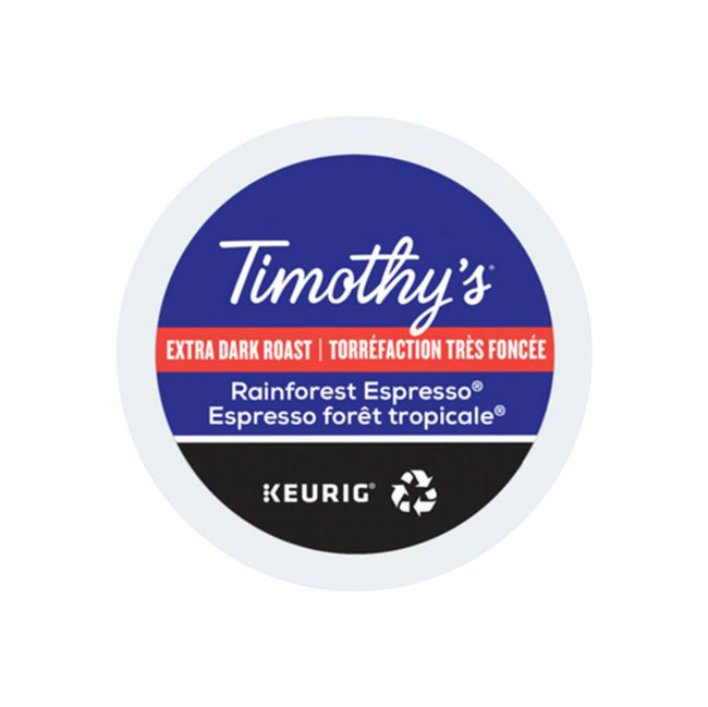 Timothy's Rainforest Espresso K-Cup® Recyclable Pods (Case of 96)