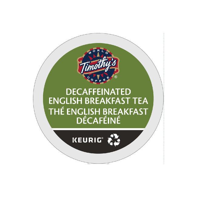 Timothy's Decaffeinated English Breakfast Tea K-Cup® Recyclable Pods (Case of 96)