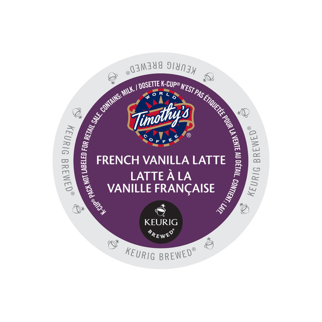 Timothy's Indulgence French Vanilla Latte K-Cup® Pods (Case of 96)