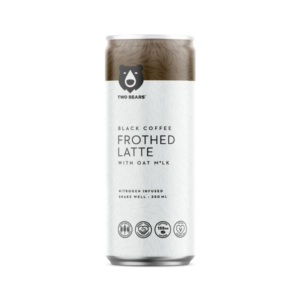 Two Bears Frothed Black Oat Milk Latte (Case of 6 Cold Brew Coffee Cans)