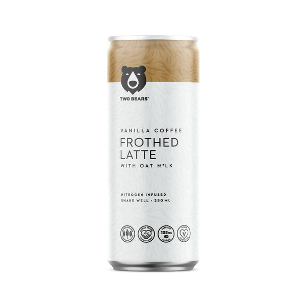 Two Bears Frothed Vanilla Oat Milk Latte (Case of 6 Cold Brew Coffee Cans)