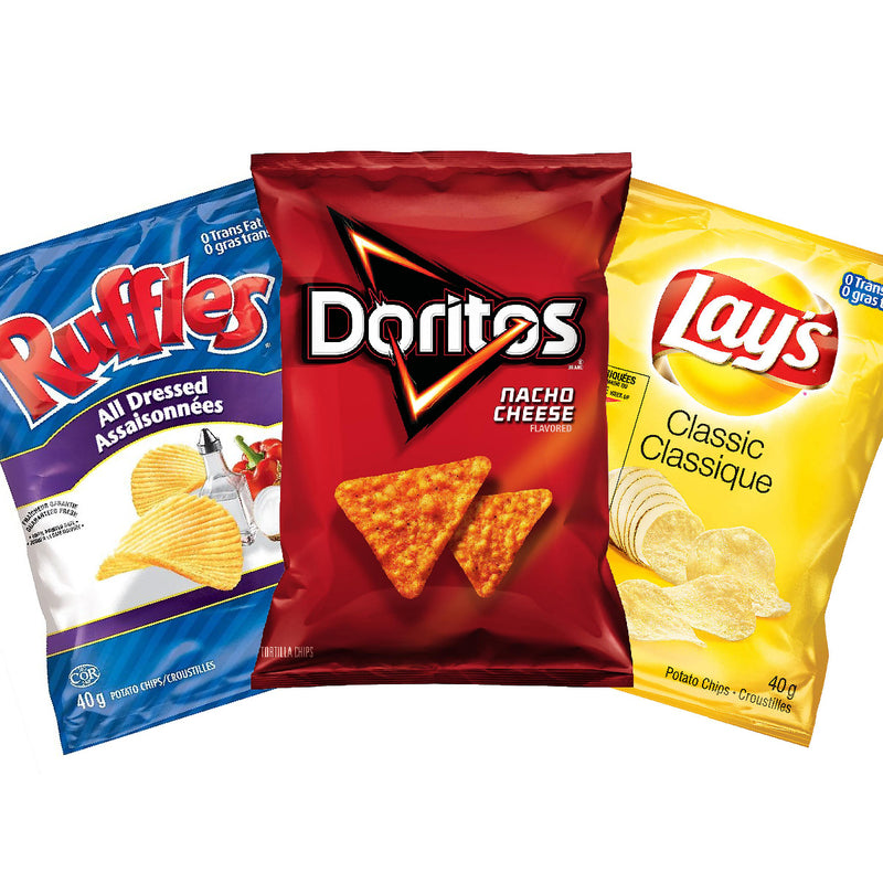 Bulk Lay's Classic, Ruffles All Dressed & Doritos Nacho Cheese (Variety Pack of 36 Bags)