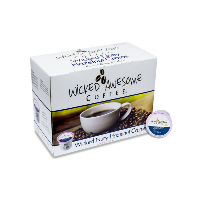 Wicked Awesome's Nutty Hazelnut Creme Single-Serve Coffee Pods (Case of 96)