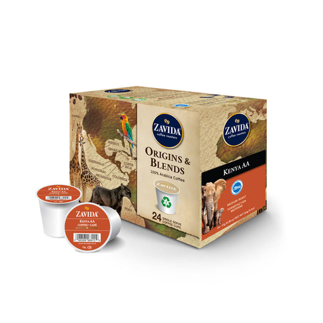 Zavida Kenya AA Single-Serve Coffee Pods (Box of 24)