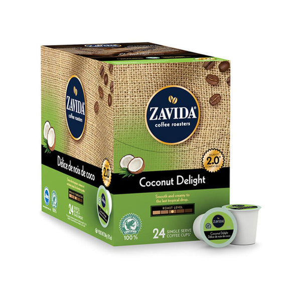 Zavida Coconut Delight Single-Serve Coffee Pods (Box of 24)