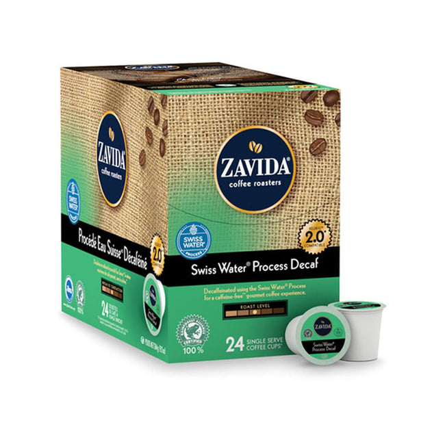 Zavida Swiss Water Decaf Single-Serve Coffee Pods (Box of 24)