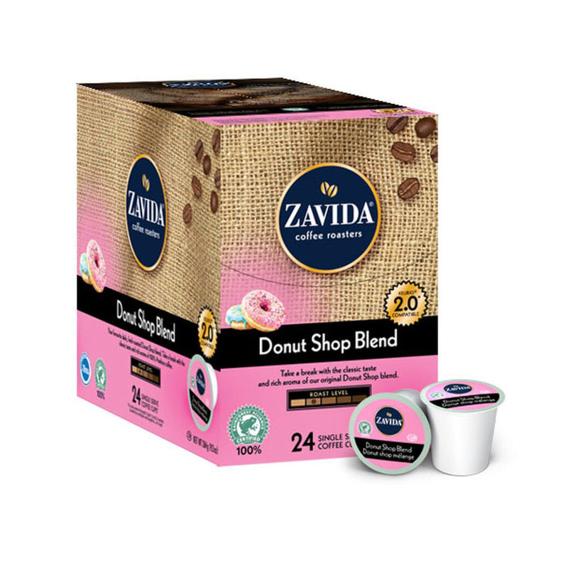Zavida Donut Shop Blend Single-Serve Coffee Pods (Case of 96)