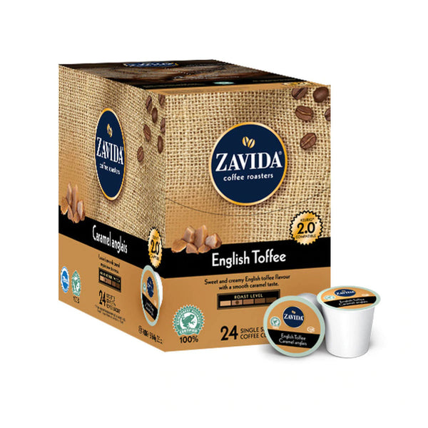 Zavida English Toffee Single-Serve Coffee Pods (Box of 24)