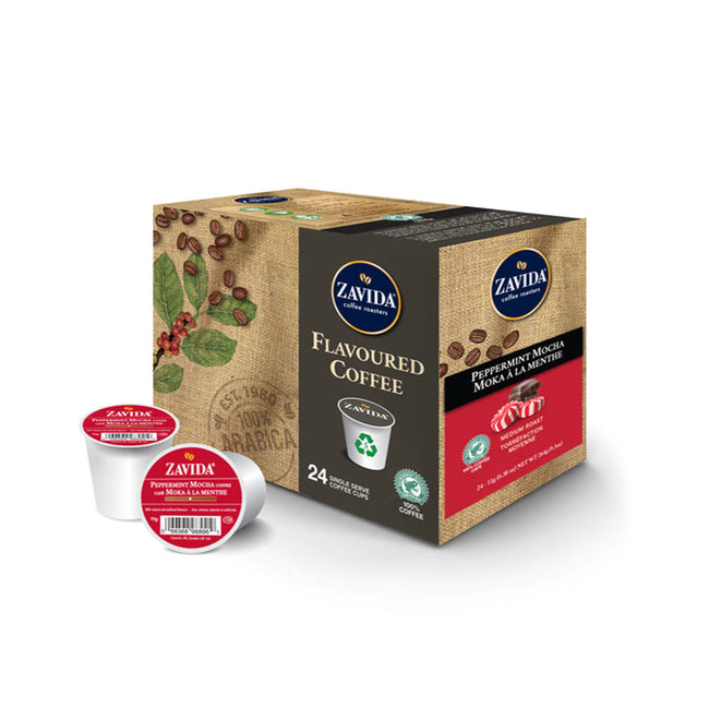 * SEASONAL * Zavida Peppermint Mocha Single-Serve Coffee Pods (Case of 96)