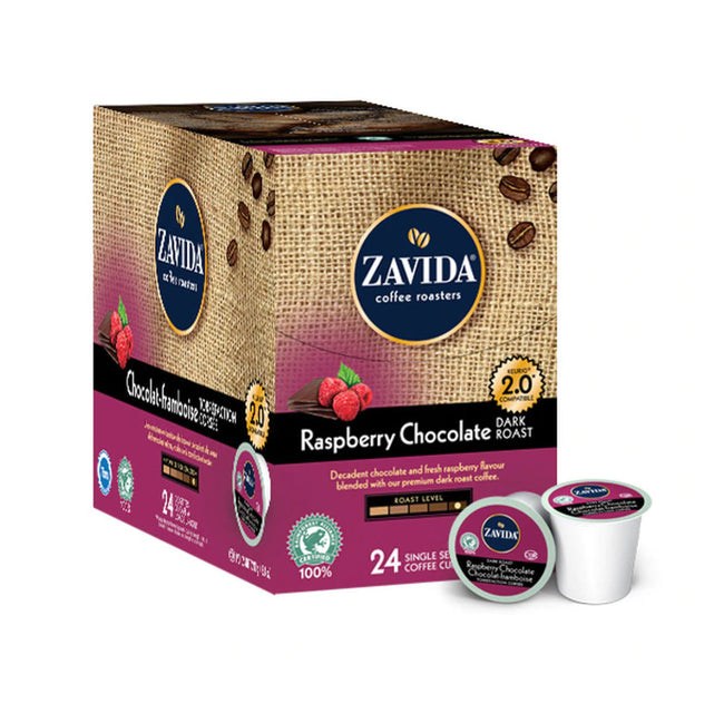 Zavida Raspberry Chocolate Dark Roast Single-Serve Coffee Pods (Box of 24)