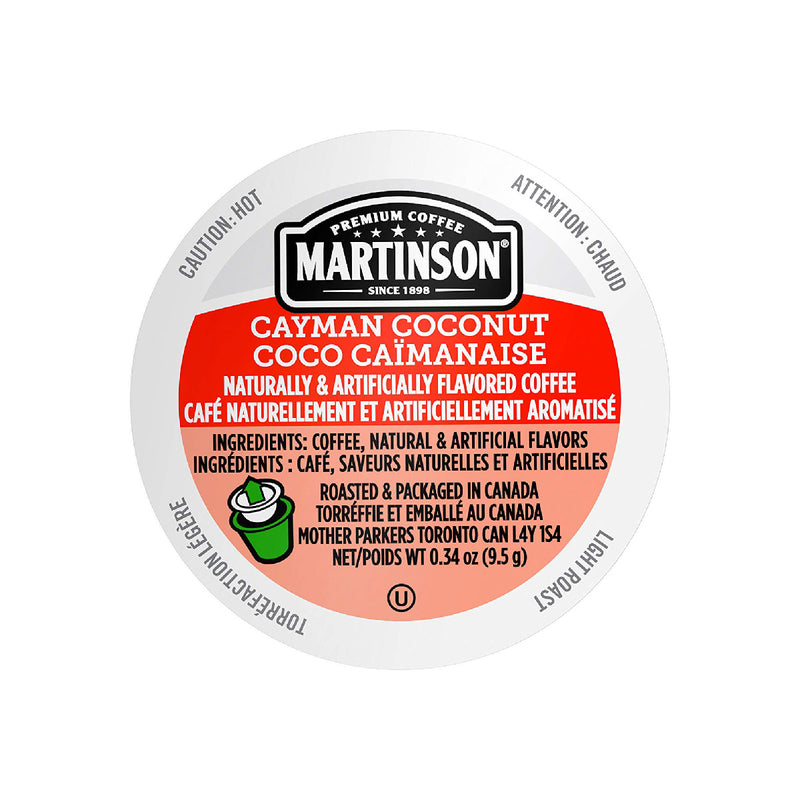 Martinson Coffee Cayman Coconut Single Serve Pods Lid