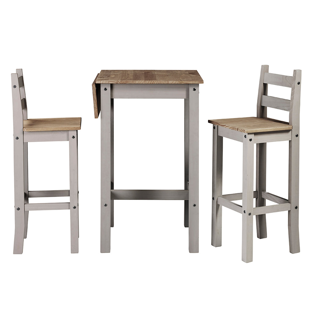 Wood Bar Height Dining Set of Drop Leaf Table and 2 Chairs Corona Gray | Furniture Dash