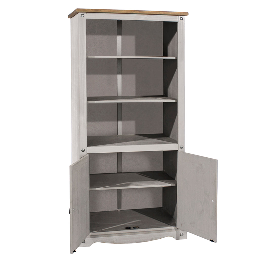 Wood Bookcase Library With Doors Corona Gray | Furniture Dash