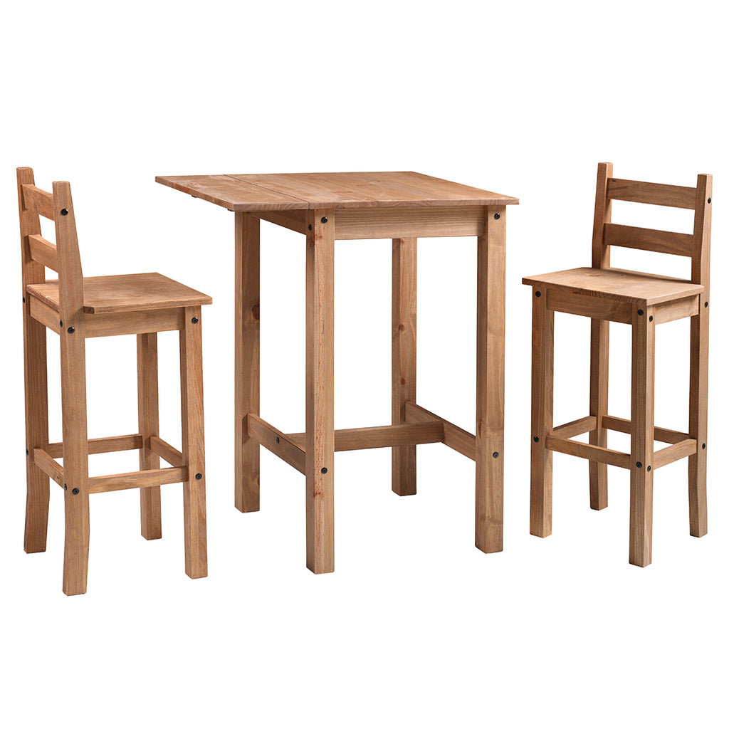Wood Bar Height Dining Set of Drop Leaf Table and 2 Chairs Corona | Furniture Dash