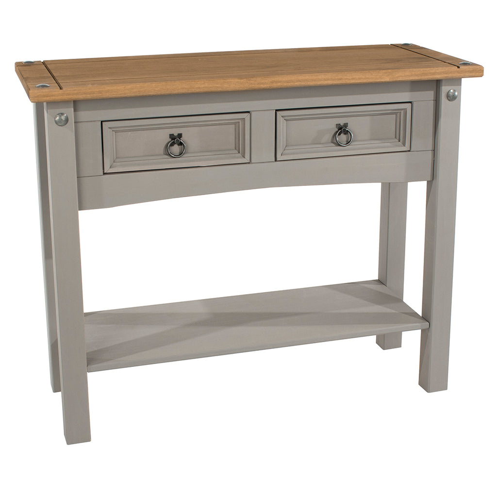 Wood Hall Table Console 2 Drawers Corona Gray | Furniture Dash