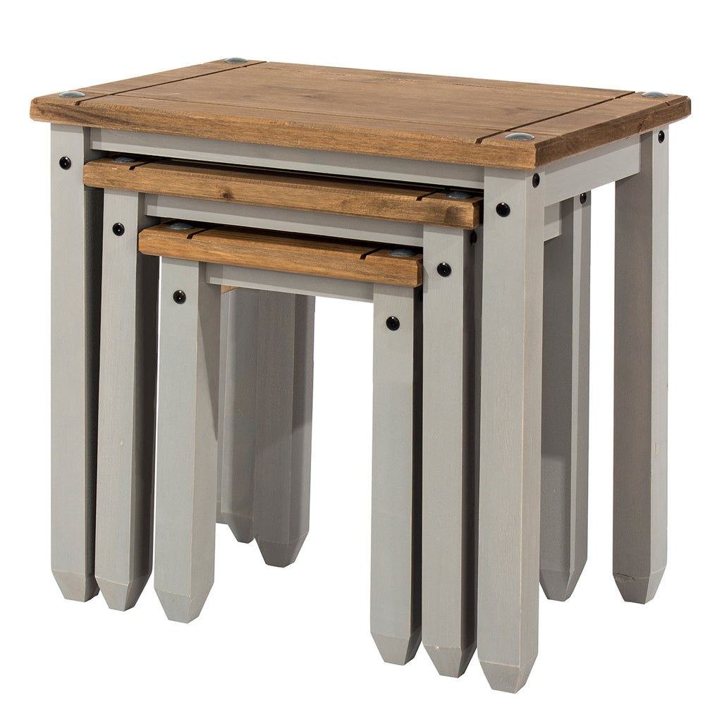 Wood Nest of 3 Tables Corona Gray | Furniture Dash