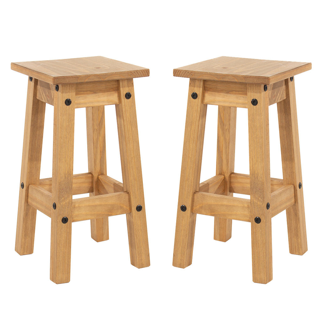 Wood Set of 2 Kitchen Stools Corona | Furniture Dash
