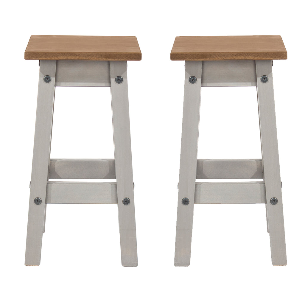 Wood Set of 2 Kitchen Stools Corona Gray | Furniture Dash