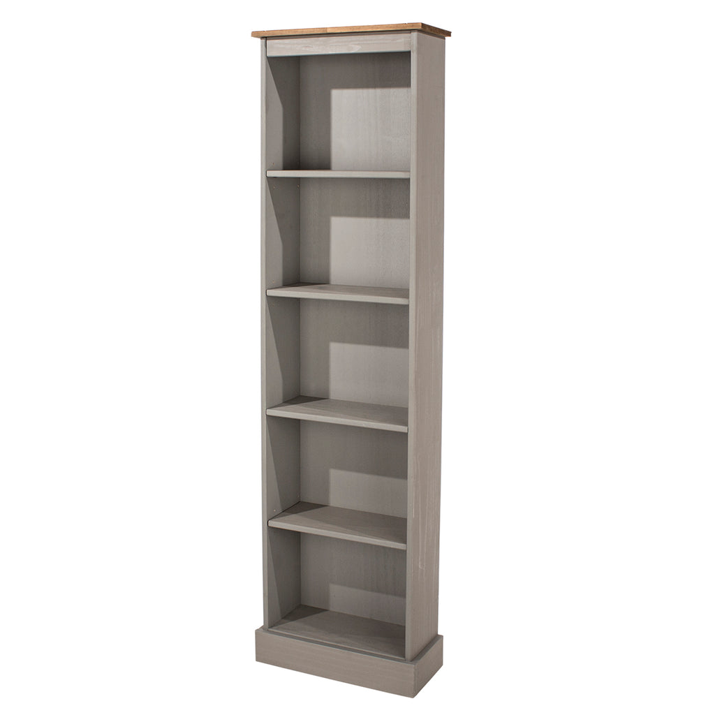 Wood Bookcase Tall Narrow Corona Gray | Furniture Dash
