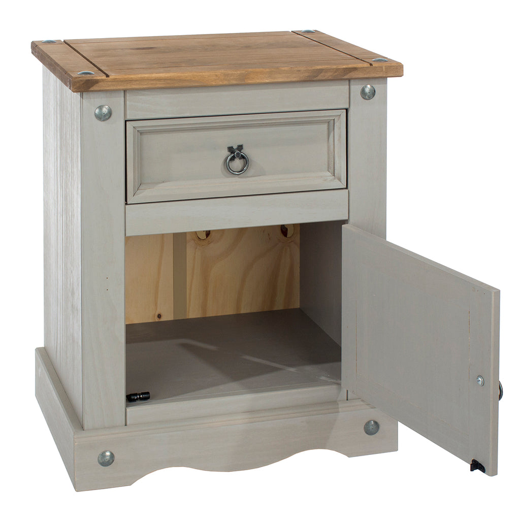 Wood Nighstand 1 Door 1 Drawer Corona Gray | Furniture Dash