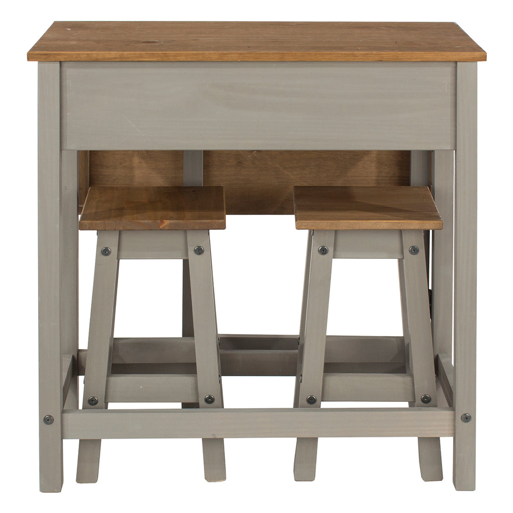 Wood Breakfast Set of Drop Leaf Table and 2 Stools Corona Gray | Furniture Dash