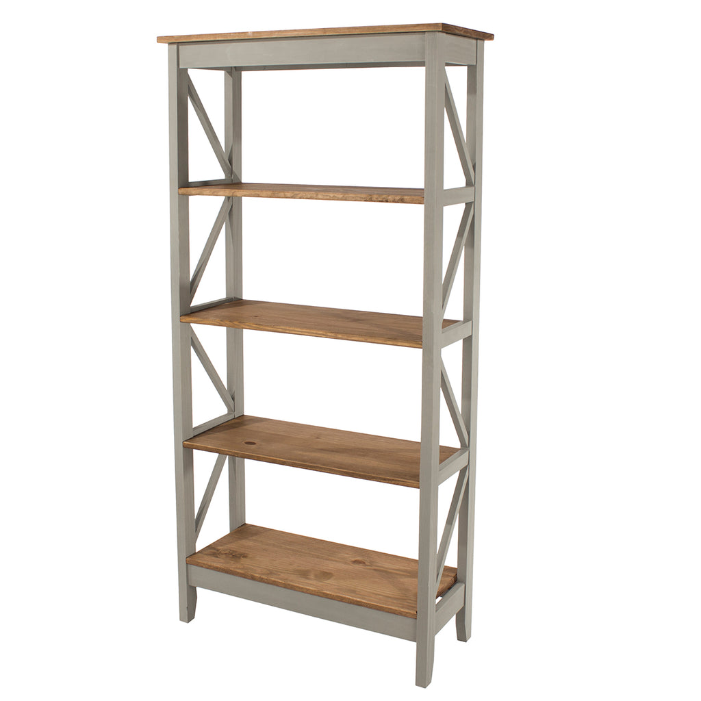 Wood Shelf Unit 5 Tier Corona Gray | Furniture Dash