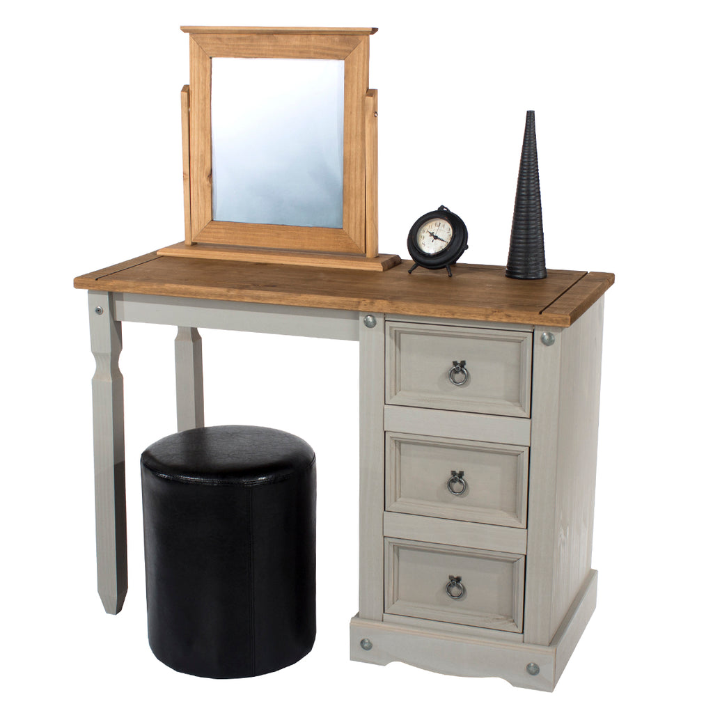 Wood Dressing Table Vanity Makeup Corona Gray | Furniture Dash