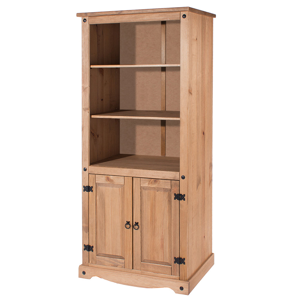 Wood Bookcase Library With Doors Corona | Furniture Dash