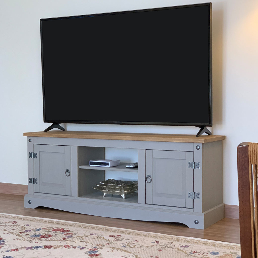 Wood TV Entertainment Stand Corona Gray | Furniture Dash
