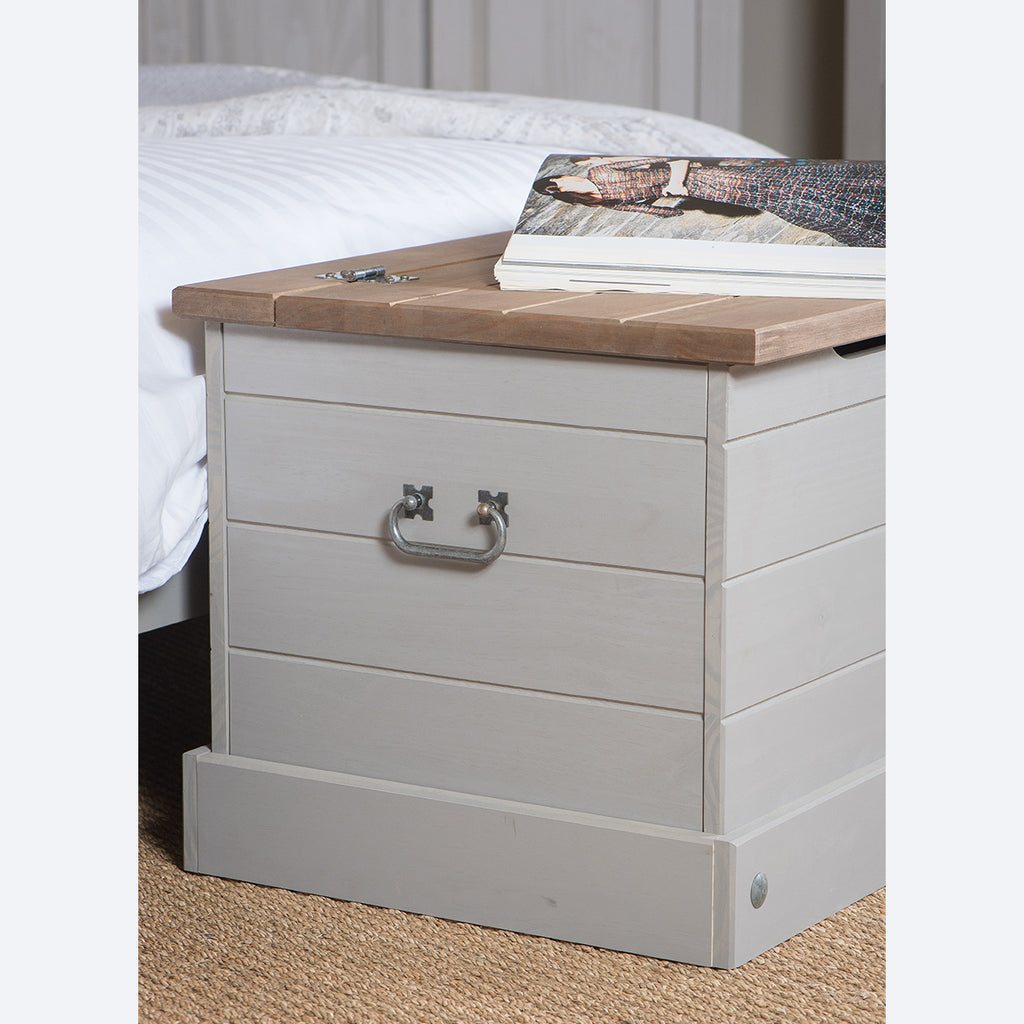 Wood Storage Trunk Ottoman Corona Gray | Furniture Dash