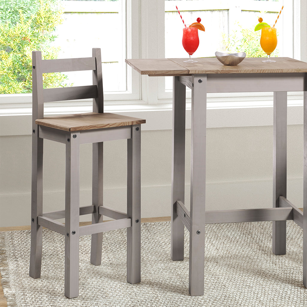 Wood Bar Height Dining Chair (Set of 2) Corona Gray | Furniture Dash
