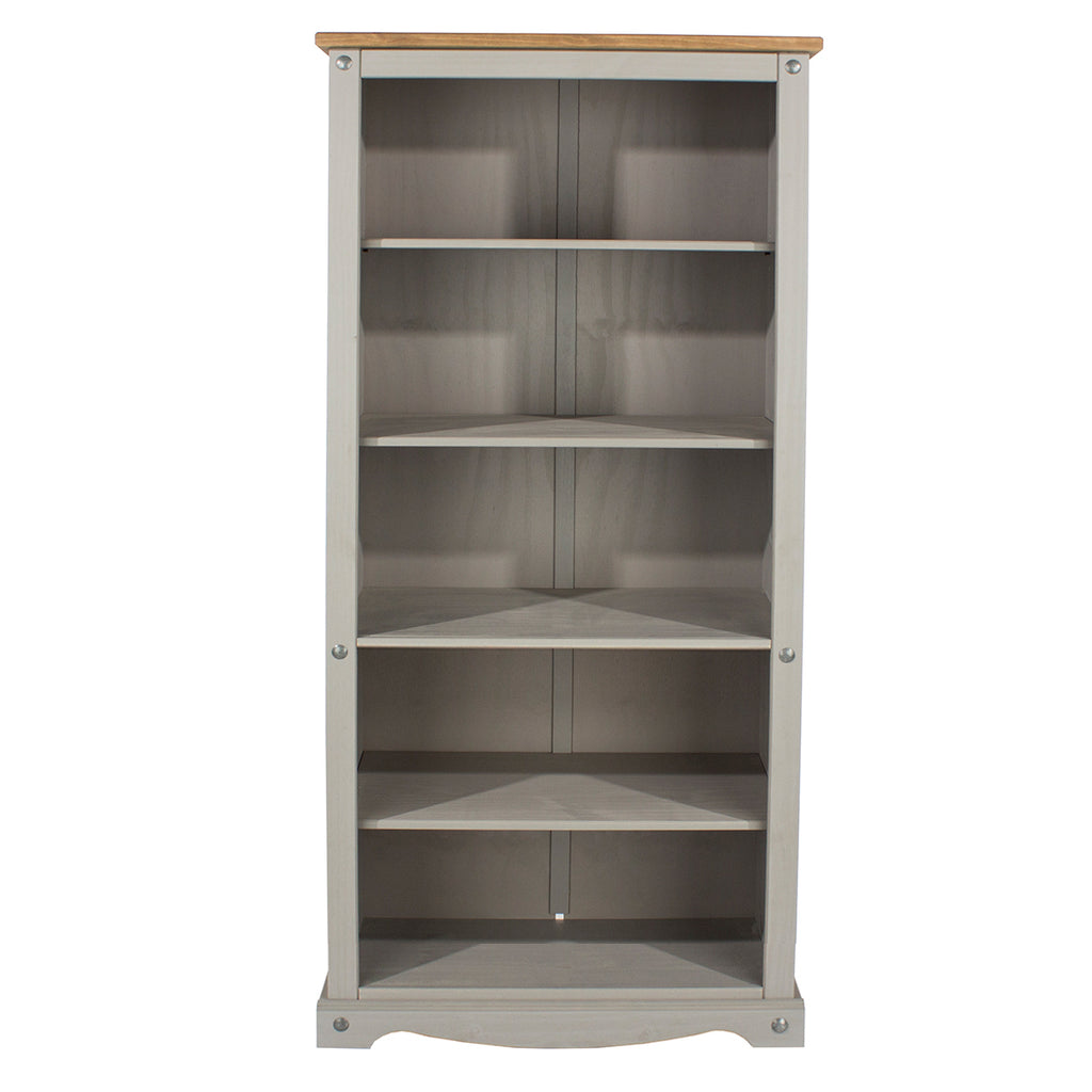 Wood Bookcase 5 Shelf Corona Gray | Furniture Dash