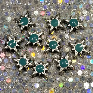 Northern Star || Silver & Teal Charms || Nail Art Studs || Christmas Winter DIY Mani