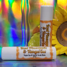 Load image into Gallery viewer, Iced Pineapple & Tangerine || Lip & Cuticle Scrub Balm Sticks || .5 oz Tube || Sensitive Skin Exfoliation