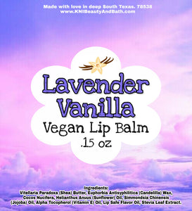 Lavender Vanilla || Vegan Lip Balm || .15 oz Balm Tube || Hydrating Humectant || Chapped Stick