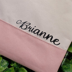 Baby Pink Nude || Nail Care Pouch with Custom Name || Personalized Faux Suede Cosmetic Travel Bag