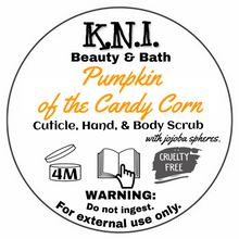 Load image into Gallery viewer, Pumpkin of the Candy Corn || TGB Exclusive || Vegan Cuticle, Hand, & Body/Foot Scrub with jojoba spheres.