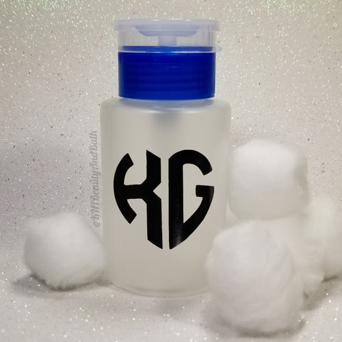 Ace-TONe of Love Pump Bottle || Blue Custom Initial Heart || Polish Remover Monogram Dispenser